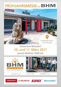 BHM Hausmesse in Moosdorf am 10. + 11.03.2017
